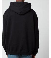 maison margiela men's square logo hoodie - black - 50/l