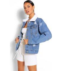 distressed borg collar jean jacket, mid blue
