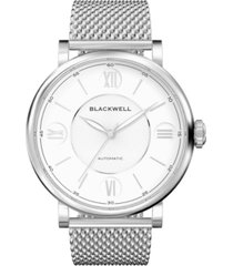 blackwell silver tone dial with silver tone steel and silver tone steel mesh watch 44 mm