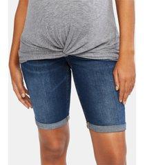 motherhood maternity cuffed bermuda denim shorts