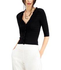 inc international concepts ruffle-trim cardigan, created for macy's