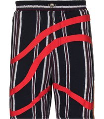 ahluwalia echo vertical-stripe bermuda shorts - blue