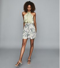 reiss amy - floral printed mini skirt in green print, womens, size 14