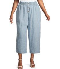 c & c california women's plus julia stripe cropped wide-leg pants - blue - size 1x (14-16)