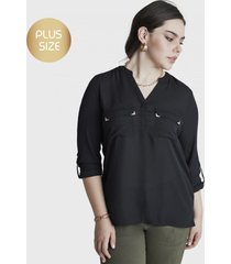 blusa manga larga con bolsillos negro curvi