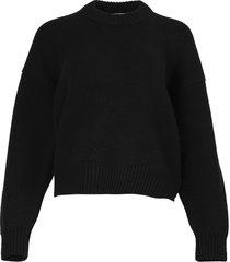 draped back merino wool pullover
