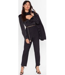 womens stripe to the party high-waisted pants - black
