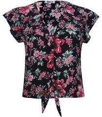 blusa con nudo flores color negro, talla 12