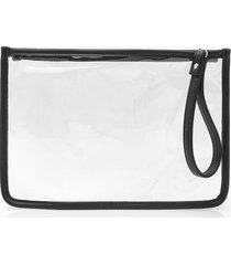 pu clear zip top travel pouch with handle, black
