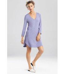 natori feathers essentials long sleeve sleepshirt pajamas, women's, grey, size l natori