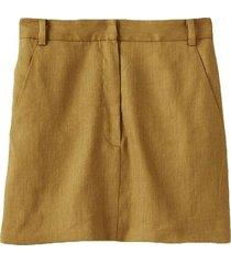 wesson linen high waisted mini skirt in tan ochre