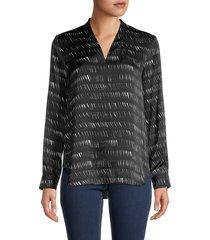eileen fisher women's abstract silk & organic cotton blouse - black - size xxs