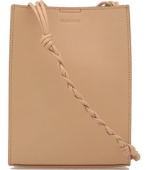 jil sander engraved logo braided strap shoulder bag
