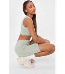 womens seamless nights crop top and biker shorts set - sage