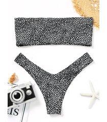 leopard print thong bandeau bikini
