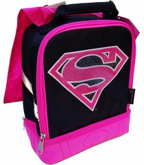 supergirl dc lead-free dual-chamber lunch tote bag box w/ attached cape nwt $24