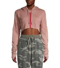 splendid women's striped cropped hoodie - pink tan - size s