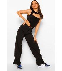 geweven slim fit broek met geplooide zoom, black