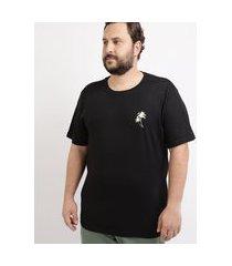 camiseta masculina plus size coqueiros manga curta gola careca preta