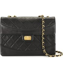 chanel pre-owned 1980-1990s diamond quilt chain shoulder bag - black