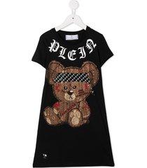 philipp plein embellished teddy bear t-shirt dress - black