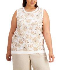 calvin klein plus size printed sleeveless top