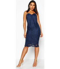 boutique mesh panelled strappy midi dress, navy