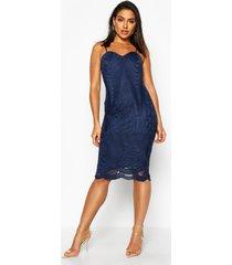 boutique midi jurk met mesh paneel en bandjes, marineblauw
