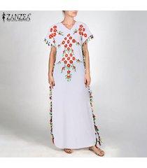 zanzea mujeres borlas camiseta del verano de bohemia del vestido vestido de tirantes vestido maxi kaftan -blanco