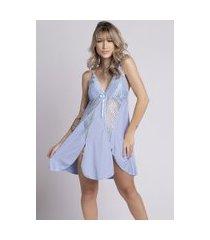camisola plus size bella fiore modas romantic renda lis azul claro