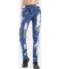jeans da uomo elasticizzati lavati in stone washer stone washed