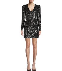 parker women's virginia sequin faux wrap dress - gunmetal - size 4