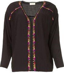 blouse met gekleurde naden bobdy  zwart