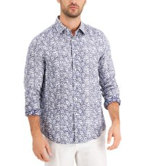 tasso elba men's afara flora linen shirt, created for macy's