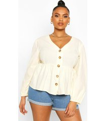 plus blouson sleeve peplum top, ivory