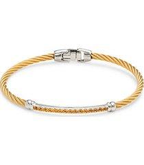 14k white gold, goldtone stainless steel cable & pavé citrine bracelet