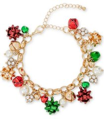 holiday lane tri-tone crystal, imitation pearl & bow jingle bell charm bracelet, created for macy's