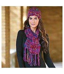 silk sari knit hat and scarf set, 'exotic kathmandu' (india)
