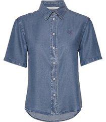 indigo tencel ss shi overhemd met korte mouwen blauw calvin klein jeans