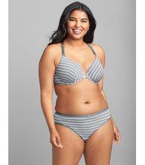 lane bryant women's front-close cotton lightly lined t-shirt bra 44ddd grey stripes
