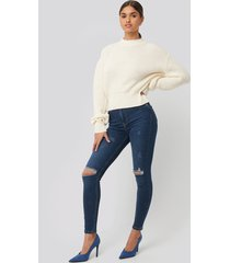 na-kd skinny high waist destroyed jeans - blue