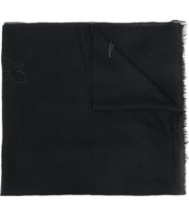 faliero sarti floral beaded scarf - black