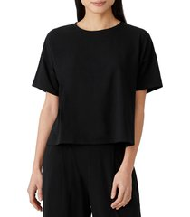 eileen fisher stretch organic cotton boxy top, size x-large in black at nordstrom