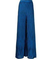 m missoni wide blue lurex pants