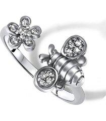 anillo abeja y flor casual plata arany joyas