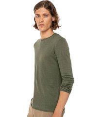 military green linen man t-shirt long sleeves