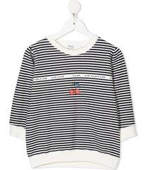 bonpoint cherry-print striped sweatshirt - blue