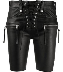 unravel project lace-up front leather shorts - black