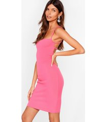 womens come back strappy mini dress - hot pink