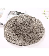 sombrero para mujer, hecho a mano paja ganchillo sra.-gris